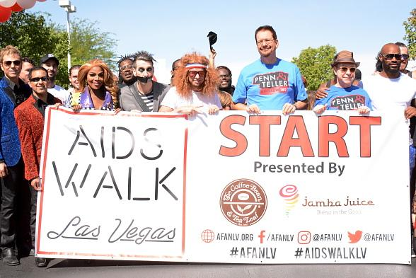 Jarrett and Raja, Rupaul, Tape Face, Carrot Top, Penn and Teller and Tyson Beckford help AIDS Walk Las Vegas Raise Nearly $300,000