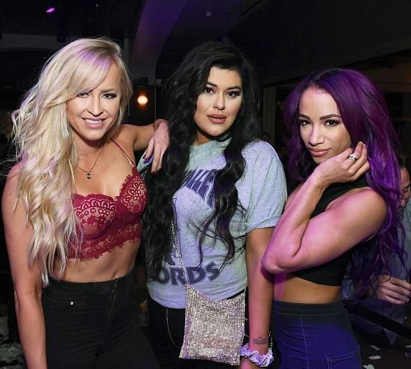 WWE Bombshells Summer Rae and Sasha Banks Party at Hyde Bellagio with Celebrity Makeup Artist Stella Kae