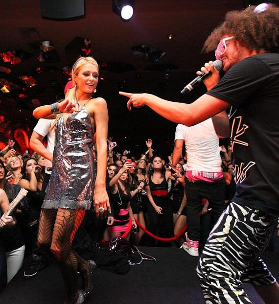 Paris Hilton with LMFAO at Surrender Nightclub