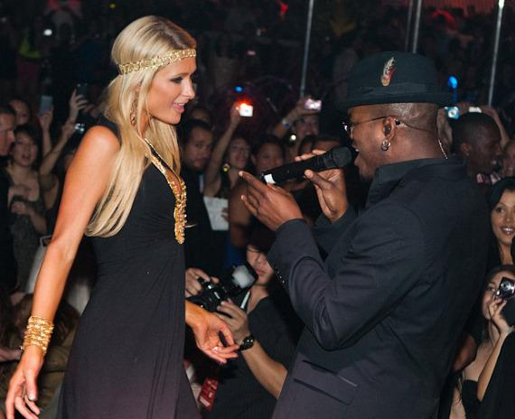 Paris Hilton and Ne-Yo at Encore Beach Club