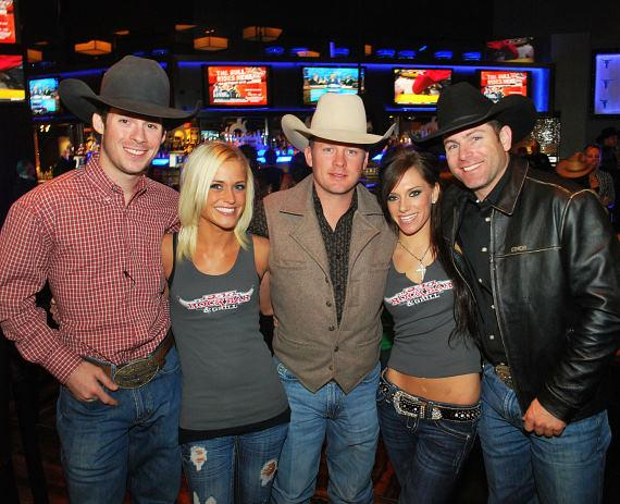 Luke Snyder, Chris Shivers and Brendon Clark with PBR Girls Trina Naughton and Jena Carpin