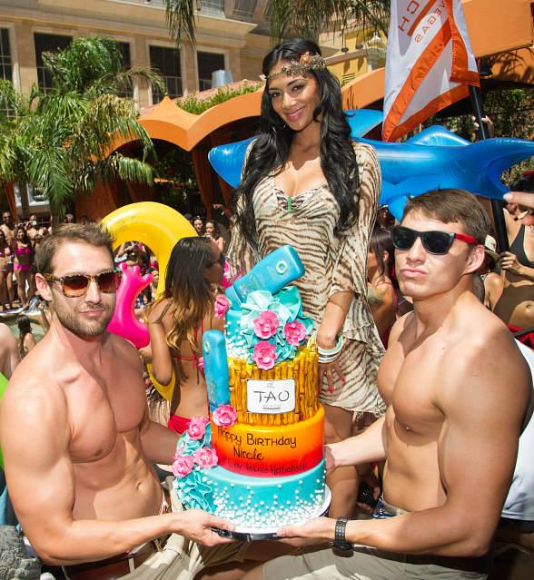 Nicole Scherzinger with brithday cake at TAO Beach