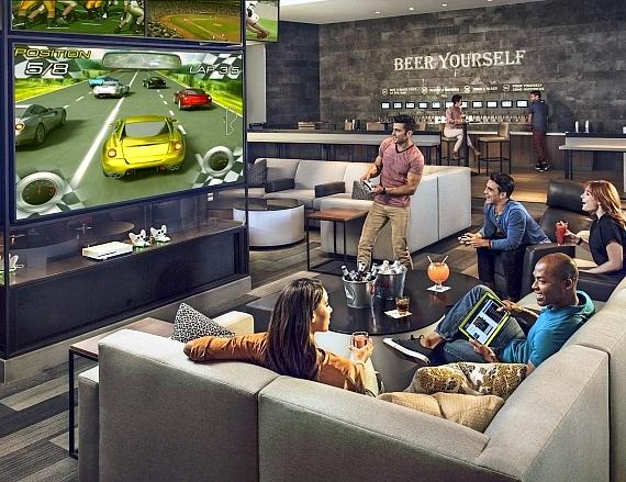 """The Book features 87 televisions, some as large as 98"""", and the Strip's highest resolution LED video wall"""