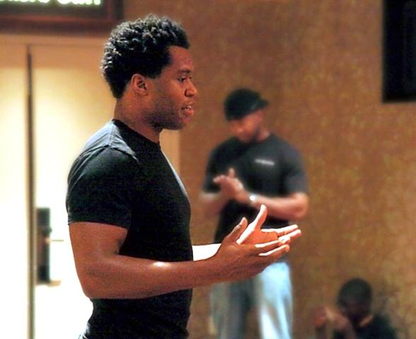 The Lion King's Derrick Williams with Broadway in the Hood Group