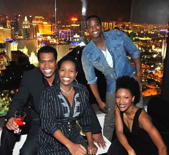 THE LION KING's Derrick Williams, Buyi Zama, Jelani Remy, Kissy Simmons inside miX Lounge Las Vegas