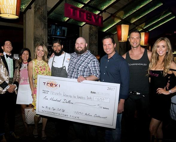 "Local Performers Mariah Nieslanik Rivera (""Fantasy""), James Davis (""Chippendales"") and The Gazillionaire (""Absinthe"") Judge Charity Pizza Contest at Trevi in Las Vegas"