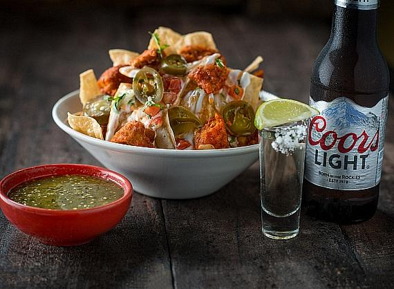 Tacos & Tequila Nachos, Shot and Coors