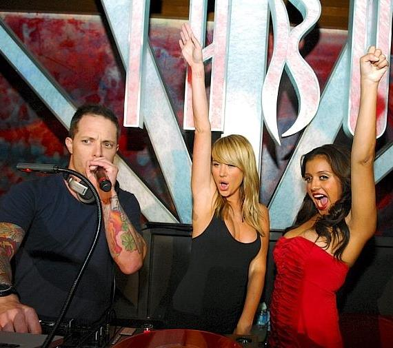 Sara Underwood in DJ Booth with DJ Eric Forbes at Tabu