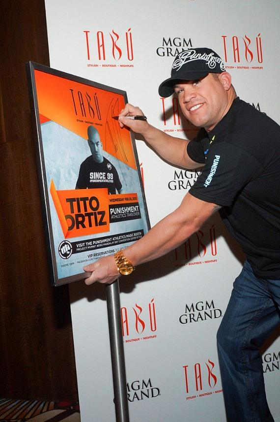 Tito Ortiz with poster in Tabú at MGM Grand