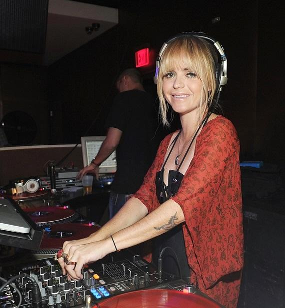 Taryn Manning in DJ booth at PURE Nightclub