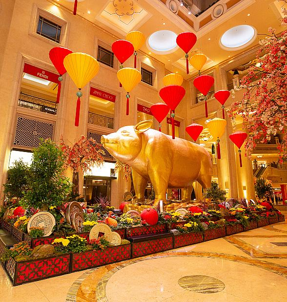 "The Venetian Resort Las Vegas Celebrates the ""Year Of The Pig"" Chinese New Year with Art Installation and Lion Dance"