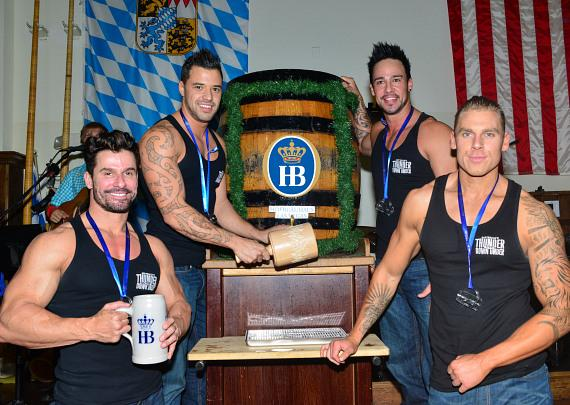 Thunder From Down Under Tapping Kegs at Hofbräuhaus Las Vegas