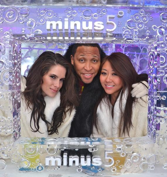 Tiffany Michelle, Shawn Marion and Maria Ho at Minus 5 Ice Bar