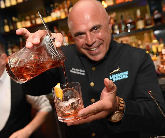 Tony Abou-Ganim creating the Boulevardier cocktail