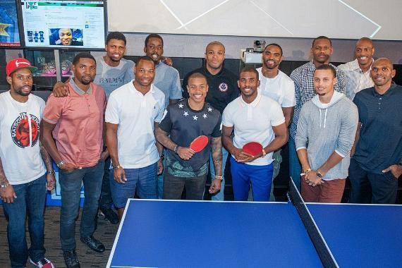 a266b366fe0a ... Chris Paul hosted the Second Annual TopSpin Charity Ping Pong Tournament  at Lagasse s Stadium at The Palazzo Las Vegas. TopSpin Celebrity Players  Group ...