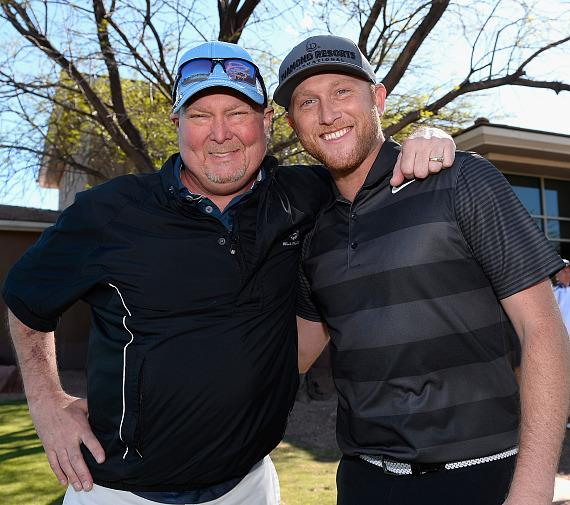 Tracy Lawrence and Cole Swindell at ACM Lifting Lives Golf Classic at TPC Las Vegas