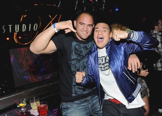 Travis Browne and Diego Sanchez in Studio 54 at Silver Star Pre-Fight Party