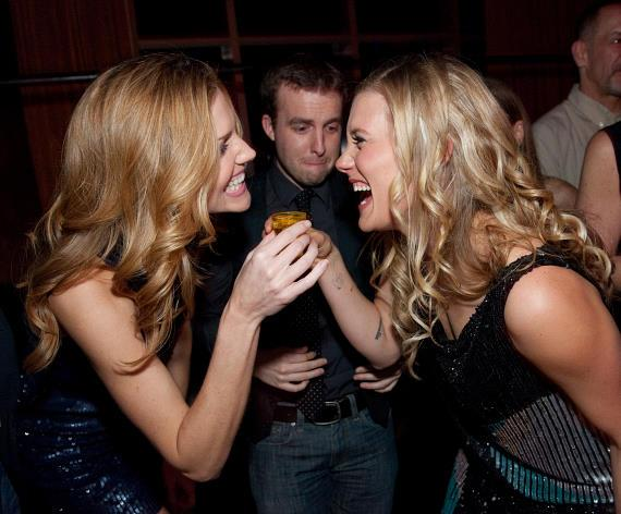Tricia Helfer and Katee Sackhoff toast at LAVO