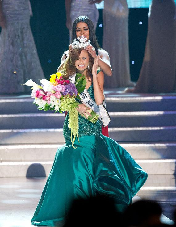 Miss California USA 2011, Alyssa Campanella, is the winner of the 2011 MISS USA Competition. She celebrates on stage after the crowning, which was broadcast LIVE on NBC from the Planet Hollywood Resort & Casino Theatre for the Performing Arts, in Las Vegas