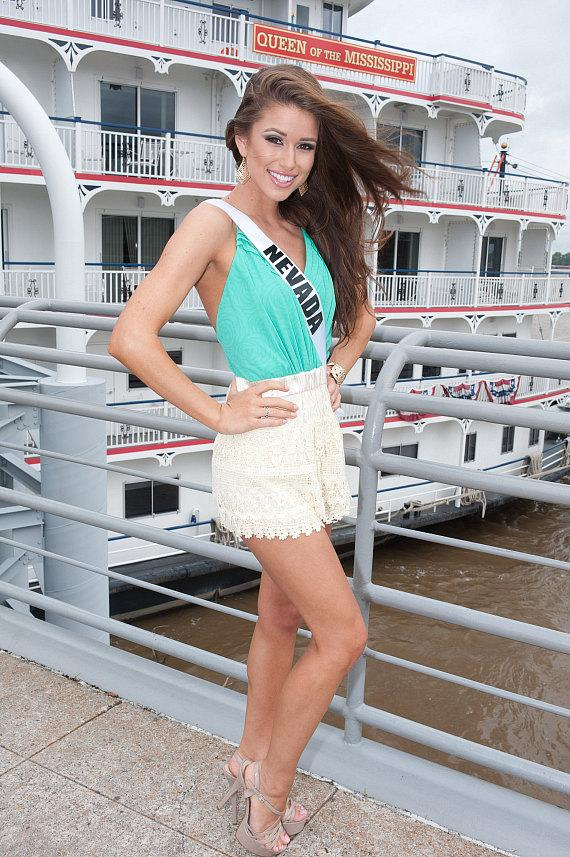 Prior to the competition, Nia Sanchez, Miss Nevada USA 2014, posed in front of the Mississippi Queen Riverboat in Baton Rouge, Louisiana
