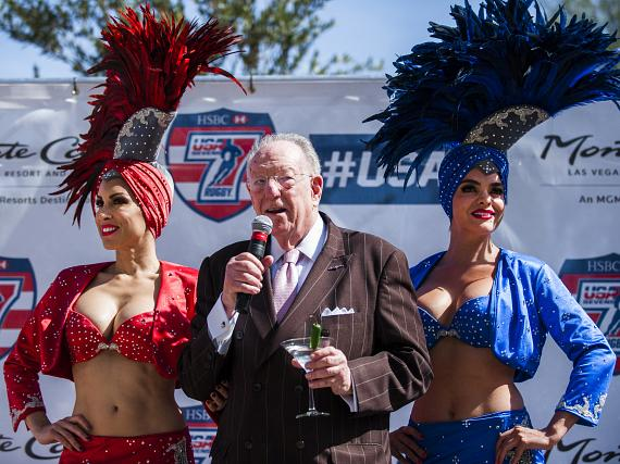 Oscar Goodman toasts to Team USA's victory during the USA Sevens International Rugby Tournament