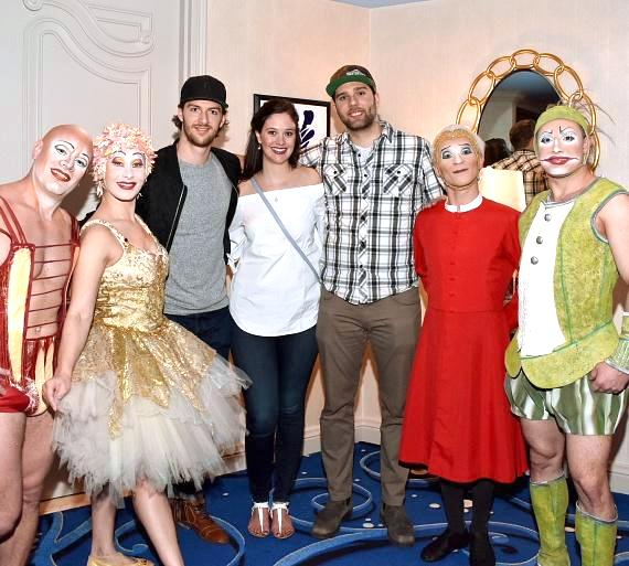 Vegas Golden Knights defenseman Colin Miller poses with friends during meet-and-greet with talented O artists