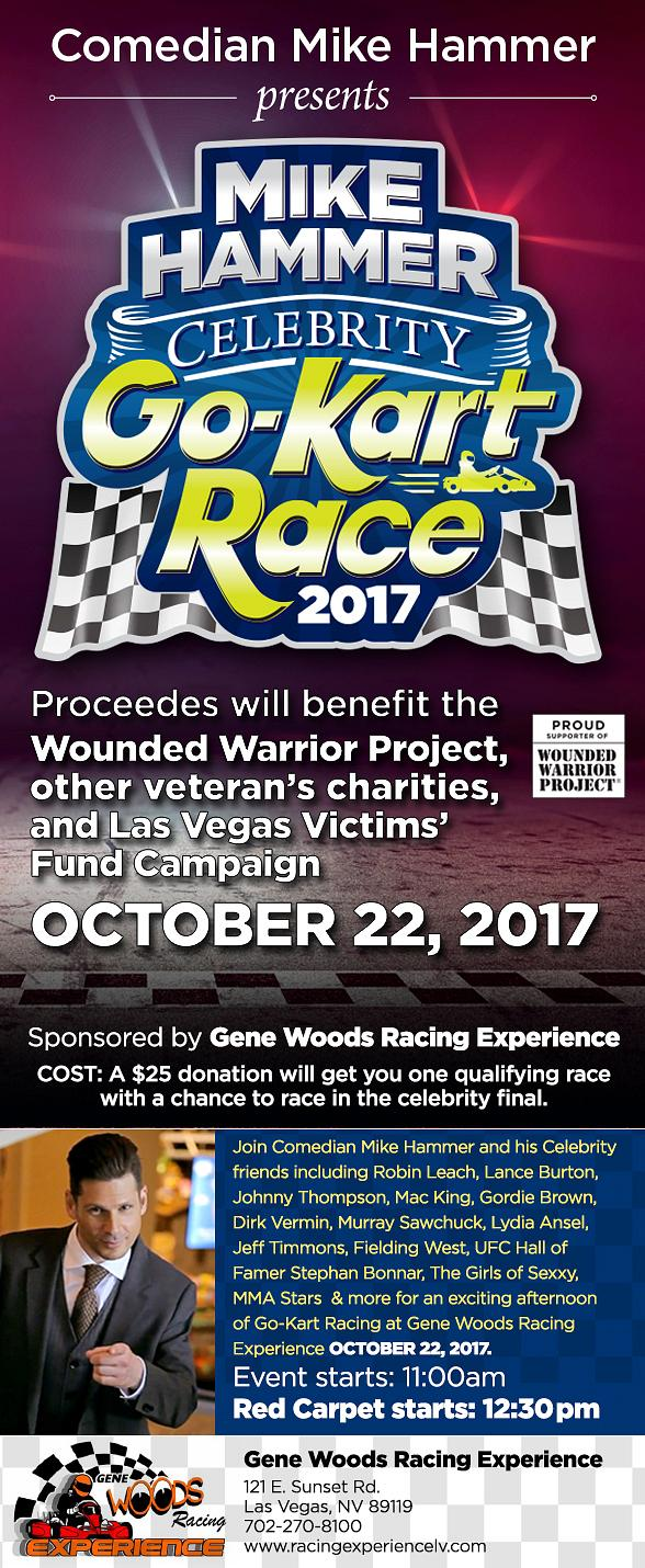 """Comedian Mike Hammer to Host 3rd Annual """"Mike Hammer Celebrity Go-Kart Race"""" Charity Event to Benefit the Wounded Warrior Project October 22, 2017"""