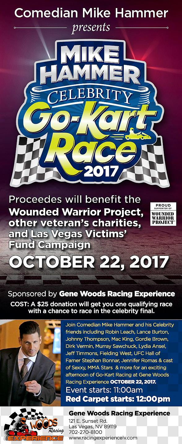 """Comedian Mike Hammer to Host 3rd Annual """"Mike Hammer Celebrity Go-Kart Race"""" Charity Event to Benefit the Wounded Warrior Project Oct. 22, 2017"""