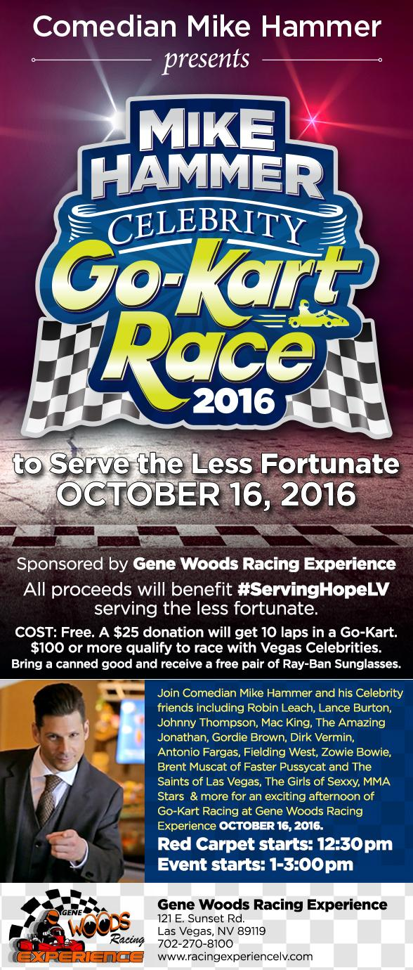 """Comedian Mike Hammer presents the Second Annual """"Mike Hammer Celebrity Go-Kart Race"""" to Serve the Less Fortunate Oct. 16"""