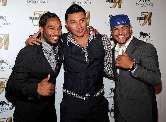 Victor Ortiz, Temo Ortiz and Karl Dargen on Red Carpet at Studio 54, Las Vegas