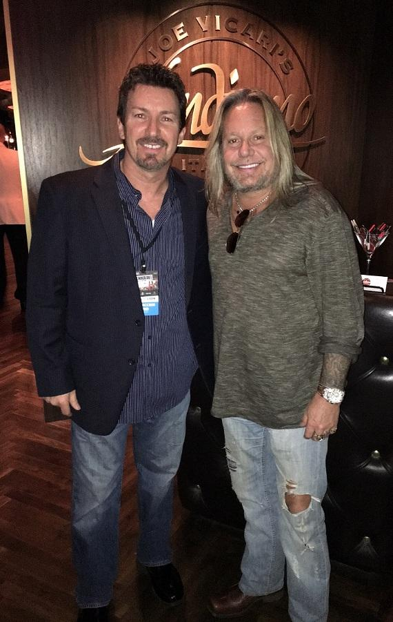 The D Executive Richard Wilk with Motley Crue frontman Vince Neil at Andiamo Italian Steakhouse inside the D Las Vegas