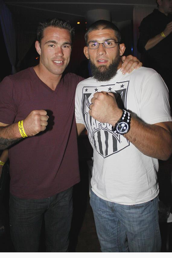 "UFC Fighter Jake Shields (left) and ""The Ultimate Fighter"" Season 11 Champion/UFC Fighter Court McGee (right)"