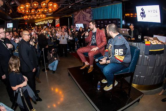 """Wayne """"Big D"""" Danielson hosts Q&A session with Alex Tuch at Hyde Lounge at T-Mobile Arena"""
