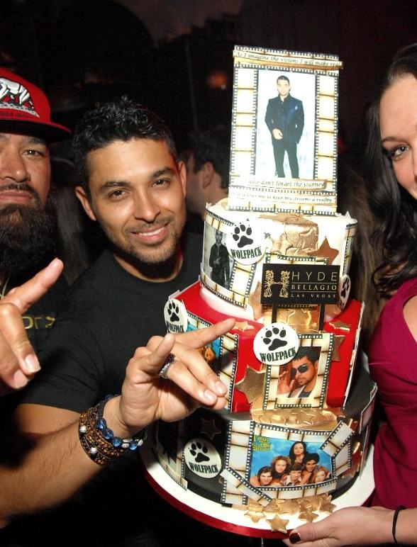Wilmer Valderrama with birthday cake at Hyde  Bellagio, Las Vegas