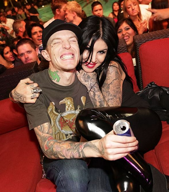 deadmau5 and Kat Von D at XS Nightclub