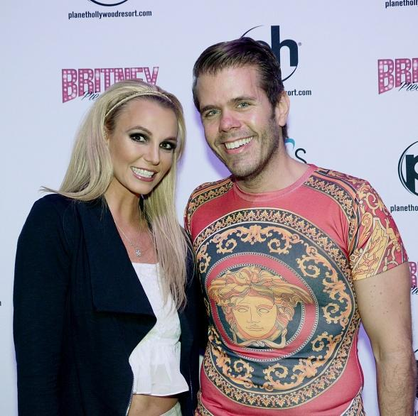 "Perez Hilton visits Britney Spears at ""Britney: Piece of Me"" at Planet Hollywood Resort & Casino"