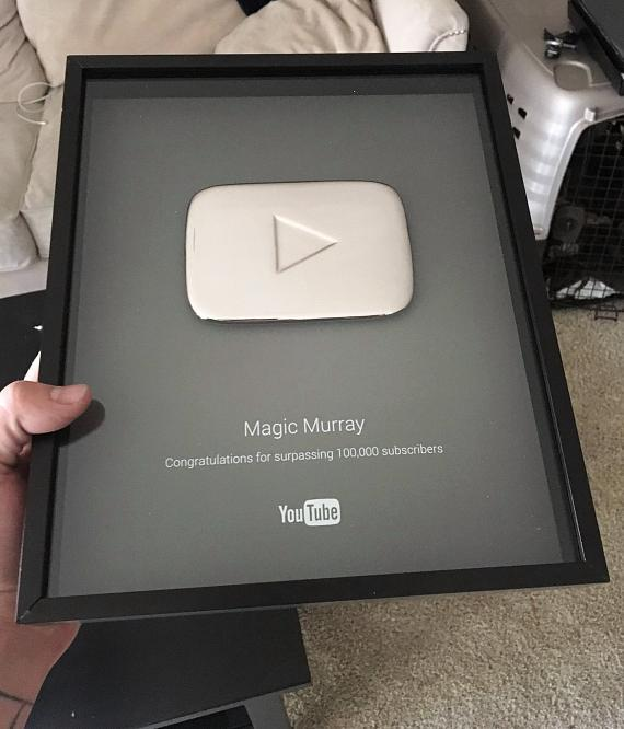 Murray SawChuck receives Youtube 100,000 subscriber plaque