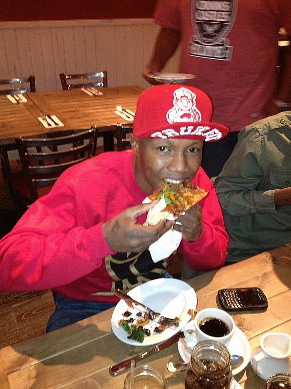 Zab Judah digs in to Meaball Spot's vegan pizza