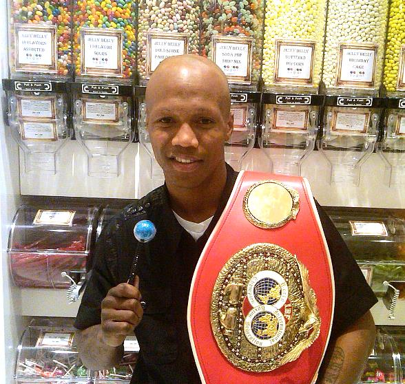 IBF Light Welterweight Champion, Zab Judah, with his championship belt and Couture Pop at Sugar Factory inside Paris Las Vegas
