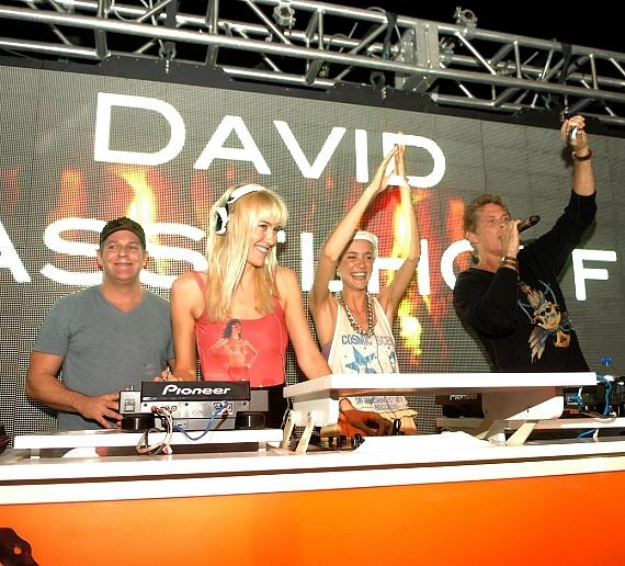 David Hasselhoff, Hayley Roberts with resident DJs the Nervo Twins