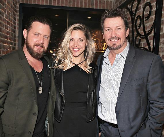 Actor AJ Buckley and his wife Abigail Ochse with Richard Wilk at Andiamo Las Vegas