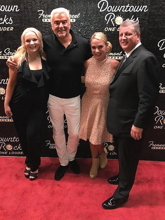 Whitney Genevieve, actor John O'Hurley with The D Casino Owner Derek Stevens (right), and his wife Nicole Parthum