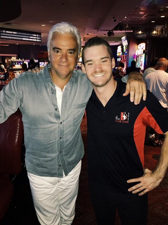 Actor John O'Hurley with the D Casino Hotel Las Vegas Flair Bartender Tony