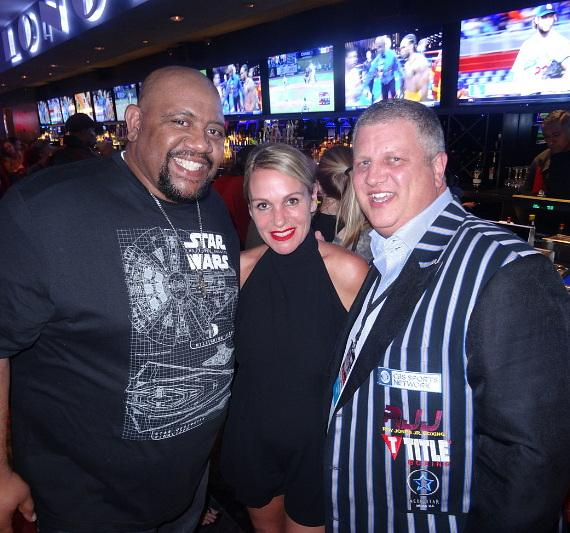 Actor Leon 'Bubba' Ganter with the D Casino Hotel Owner Derek Stevens and wife Nicole Parthum