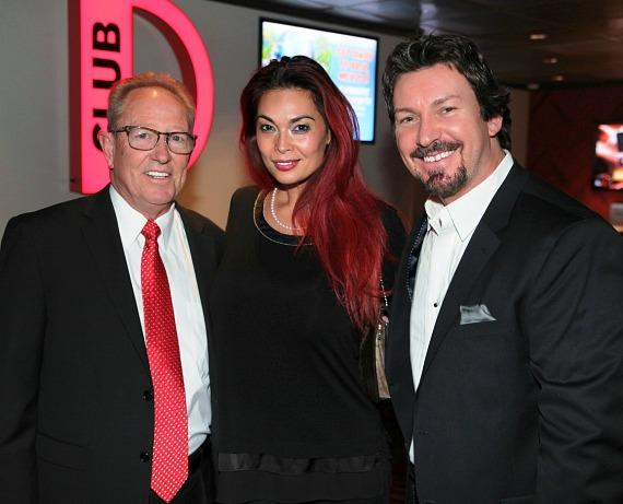 Actress Tera Patrick with the D Casino COO Dave Tuttle and D Casino Executive Richard Wilk in Las Vegas