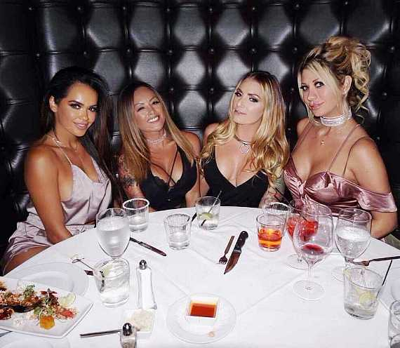 Adult Stars Daisy Marie, Kaylani Lei, Teagan Presley and Jazy Berlin at Andiamo Italian Steakhouse inside The D Las Vegas