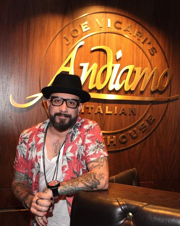 Backstreet Boy AJ McLean spotted at Andiamo Italian Steakhouse inside the D Casino Hotel