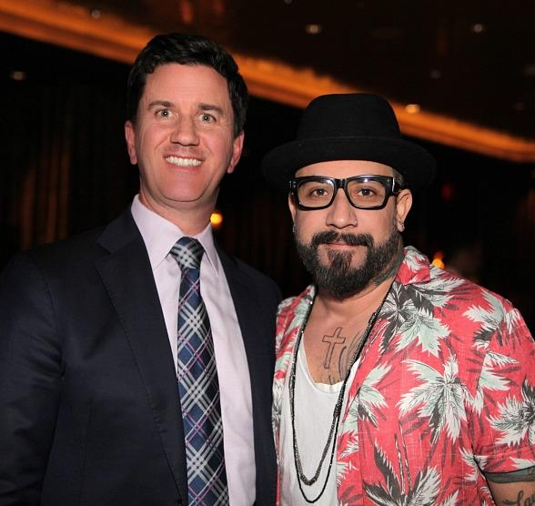 The D Casino Owner Greg Stevens with AJ McLean of Backstreet Boys in Las Vegas