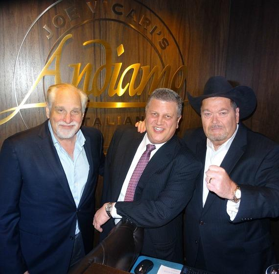 Al Bernstein, the D Las Vegas owner Derek Stevens and famous WWE Hall of Famer / Commentator Jim Ross inside Andiamo Italian Steakhouse