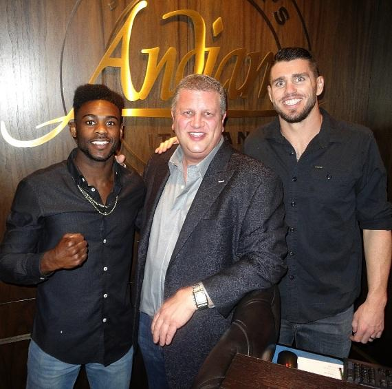 UFC fighters Aljamain Sterling and Chris Camozzi with the D Las Vegas owner Derek Stevens inside Andiamo Las Vegas